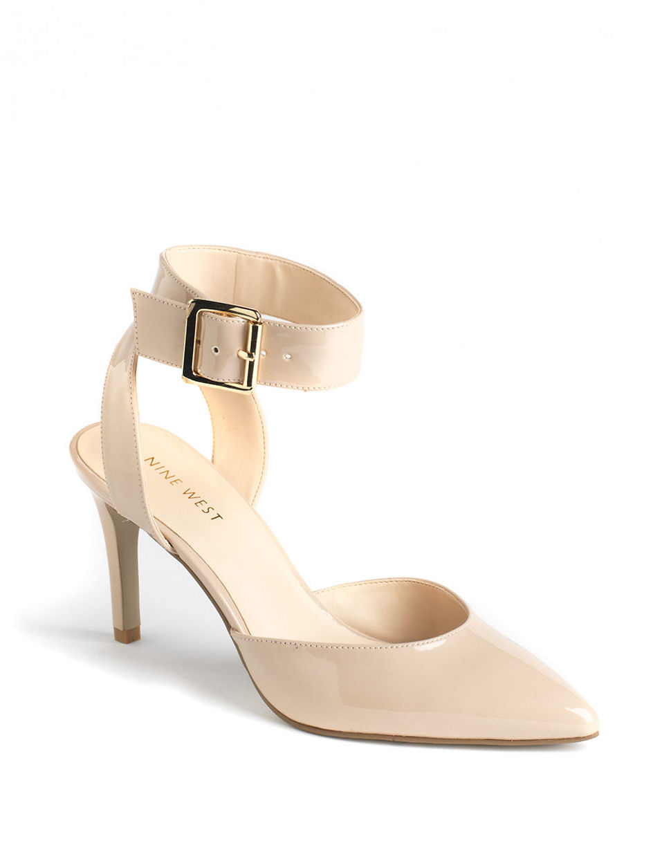 24f860bb9a29 Lyst - Nine West Callen Leather Ankle-Strap Pumps in Natural