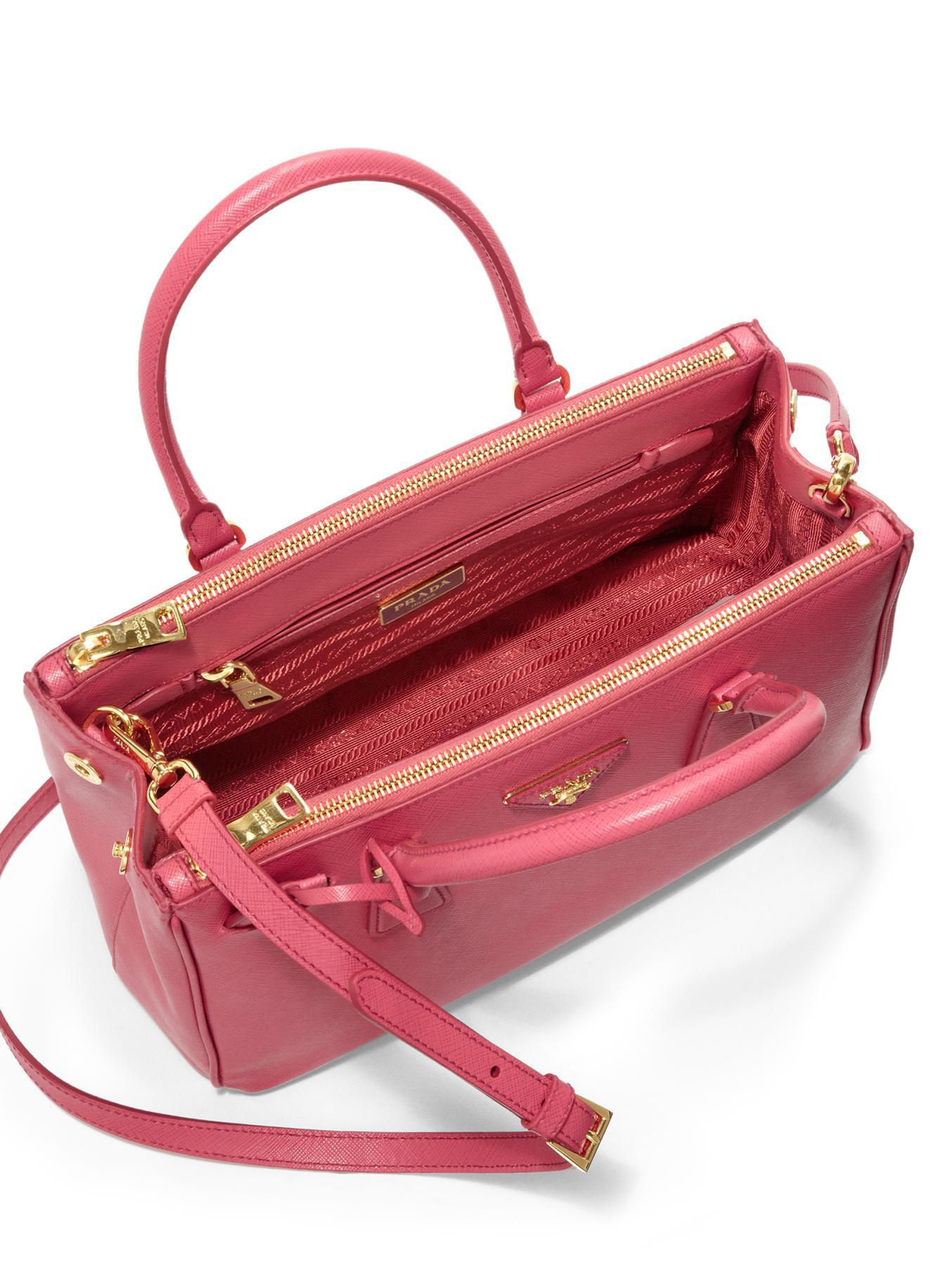 c4e68920125 Lyst - Prada Saffiano Lux Small Double-zip Tote in Pink