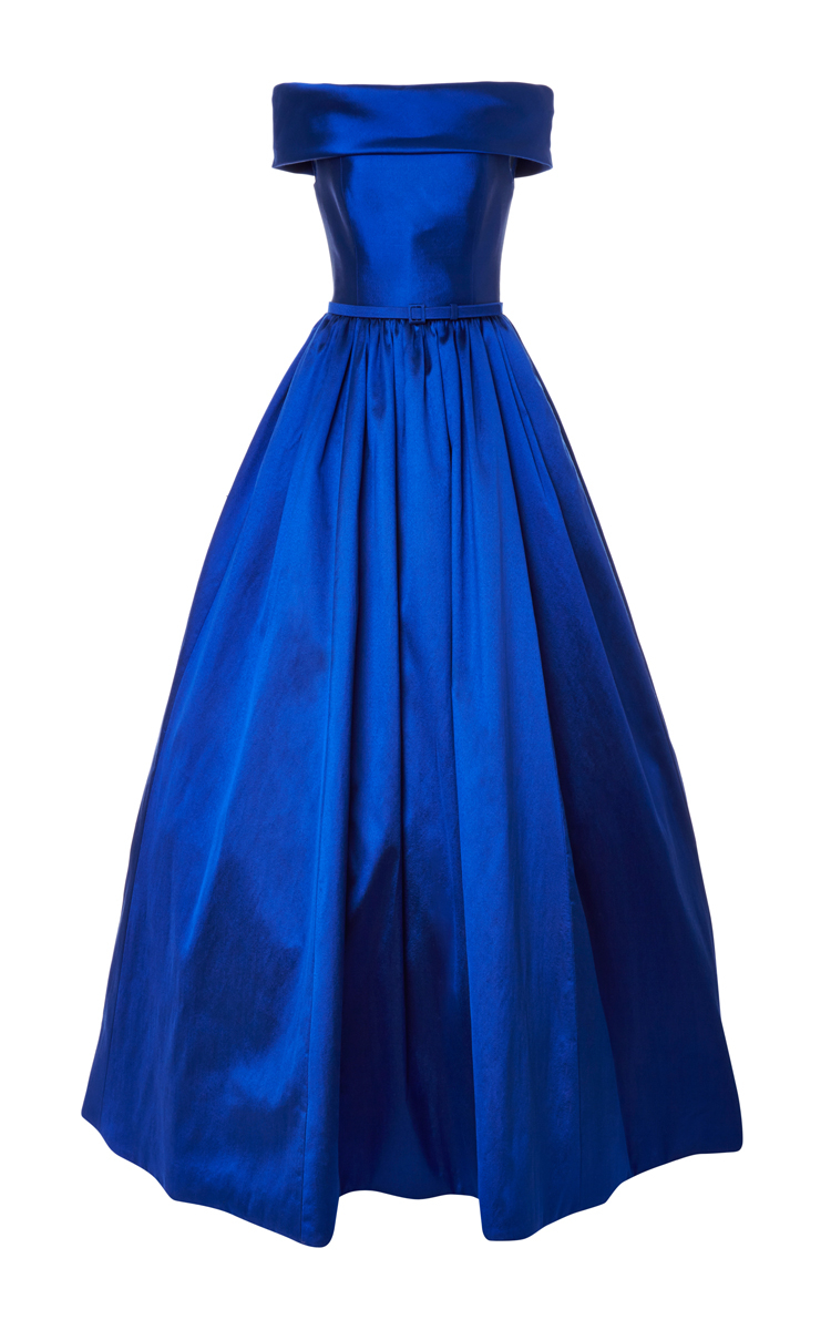 Lyst Reem Acra Off Shoulder Ball Gown In Blue