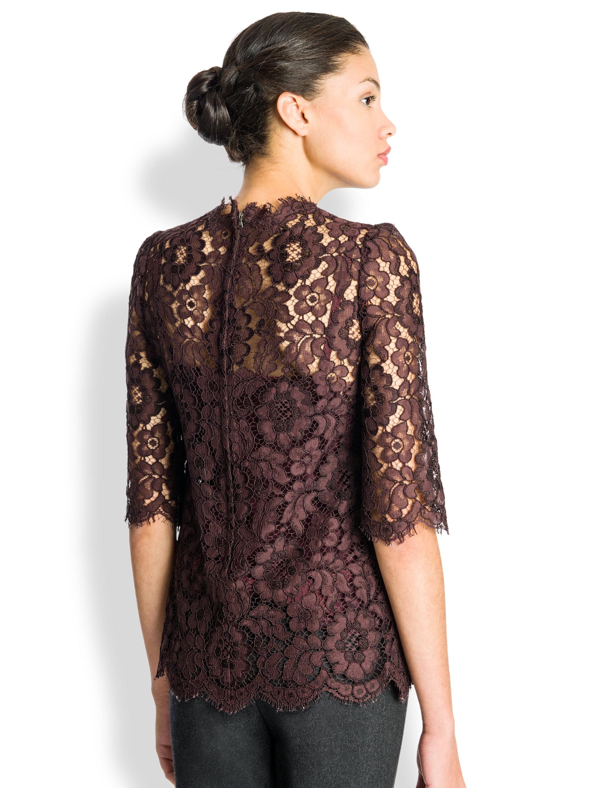 Long Sleeve Black Lace Blouse