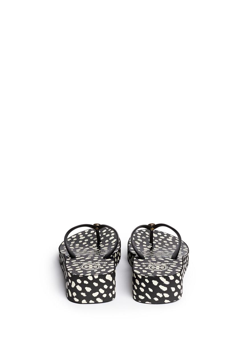 8c62c7753 Lyst - Tory Burch  thandie  Dot Print Wedge Flip Flops in Black