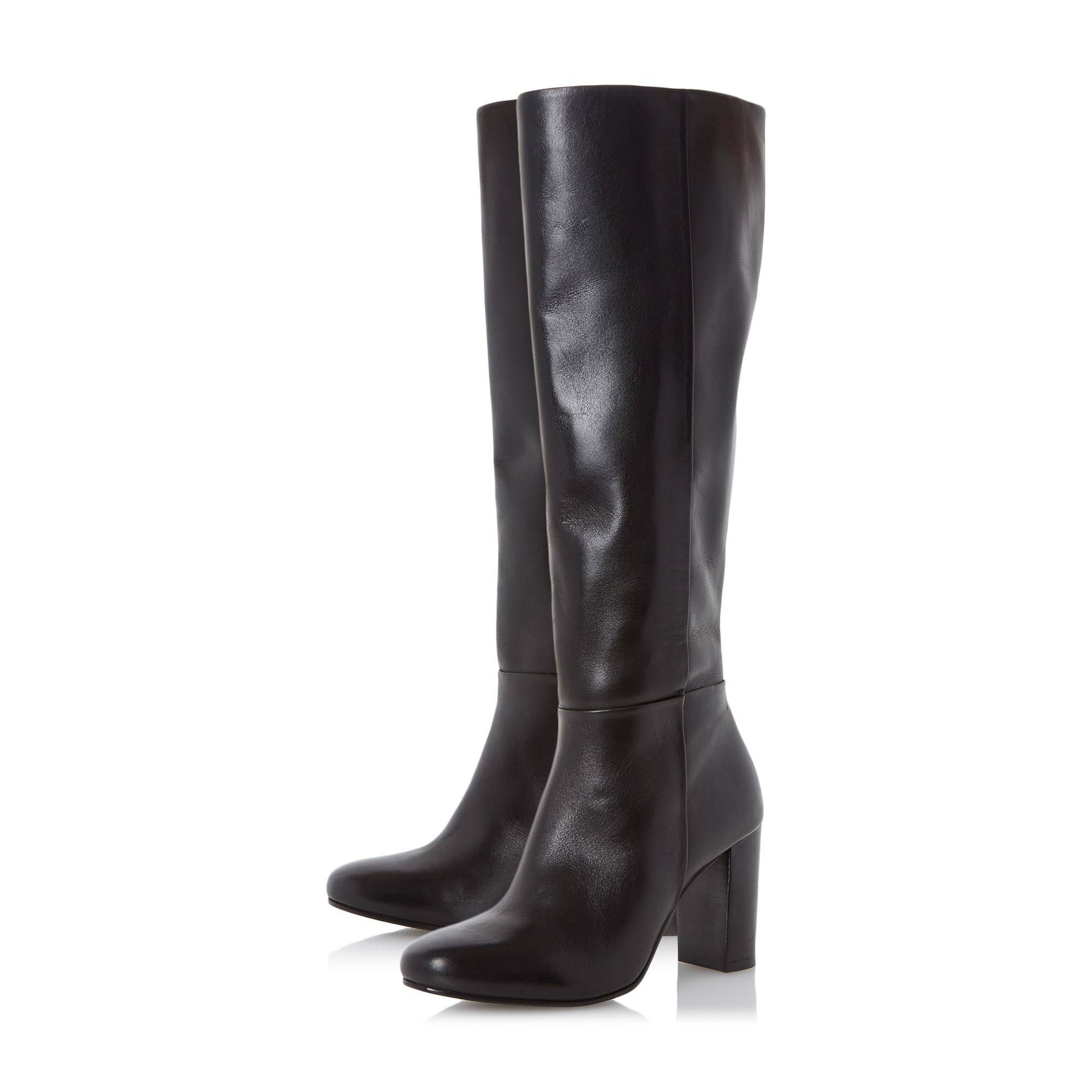 dune siena block heel leather knee high boots in brown lyst