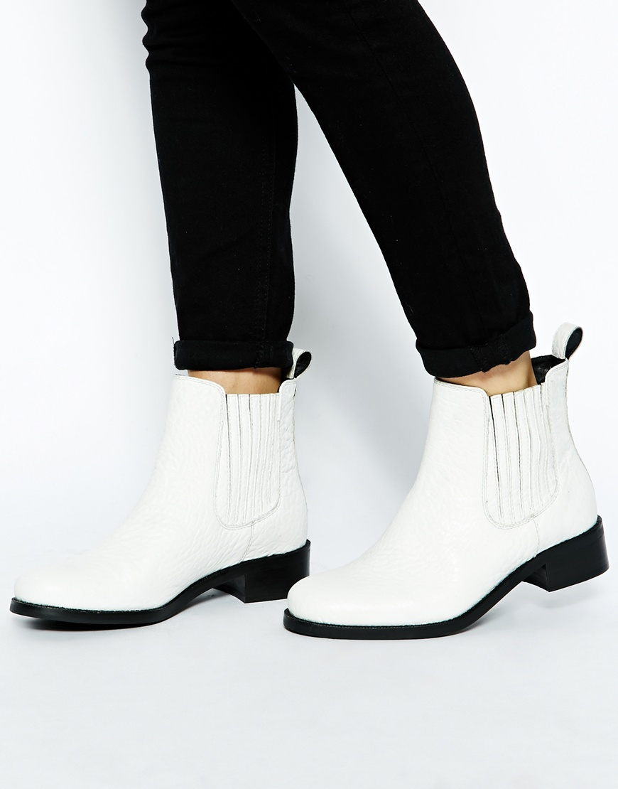 Lyst Asos Atonement Leather Chelsea Ankle Boots In White