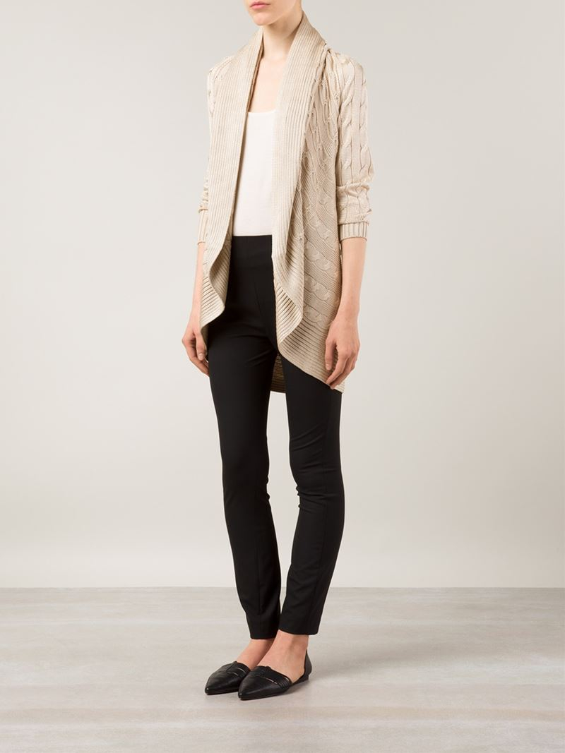 Ralph lauren black label Cable Knit Open Front Cardigan in Natural ...
