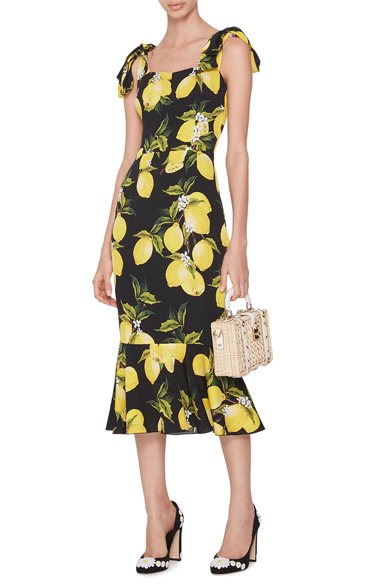 Lyst Dolce Amp Gabbana Silk Fitted Dress With Lemon Print