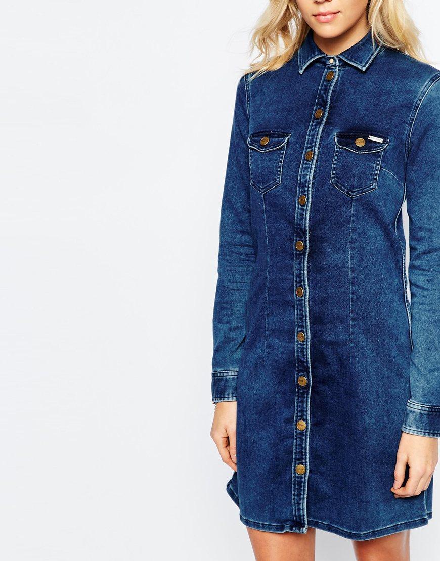 pepe jeans denim dress in blue lyst. Black Bedroom Furniture Sets. Home Design Ideas