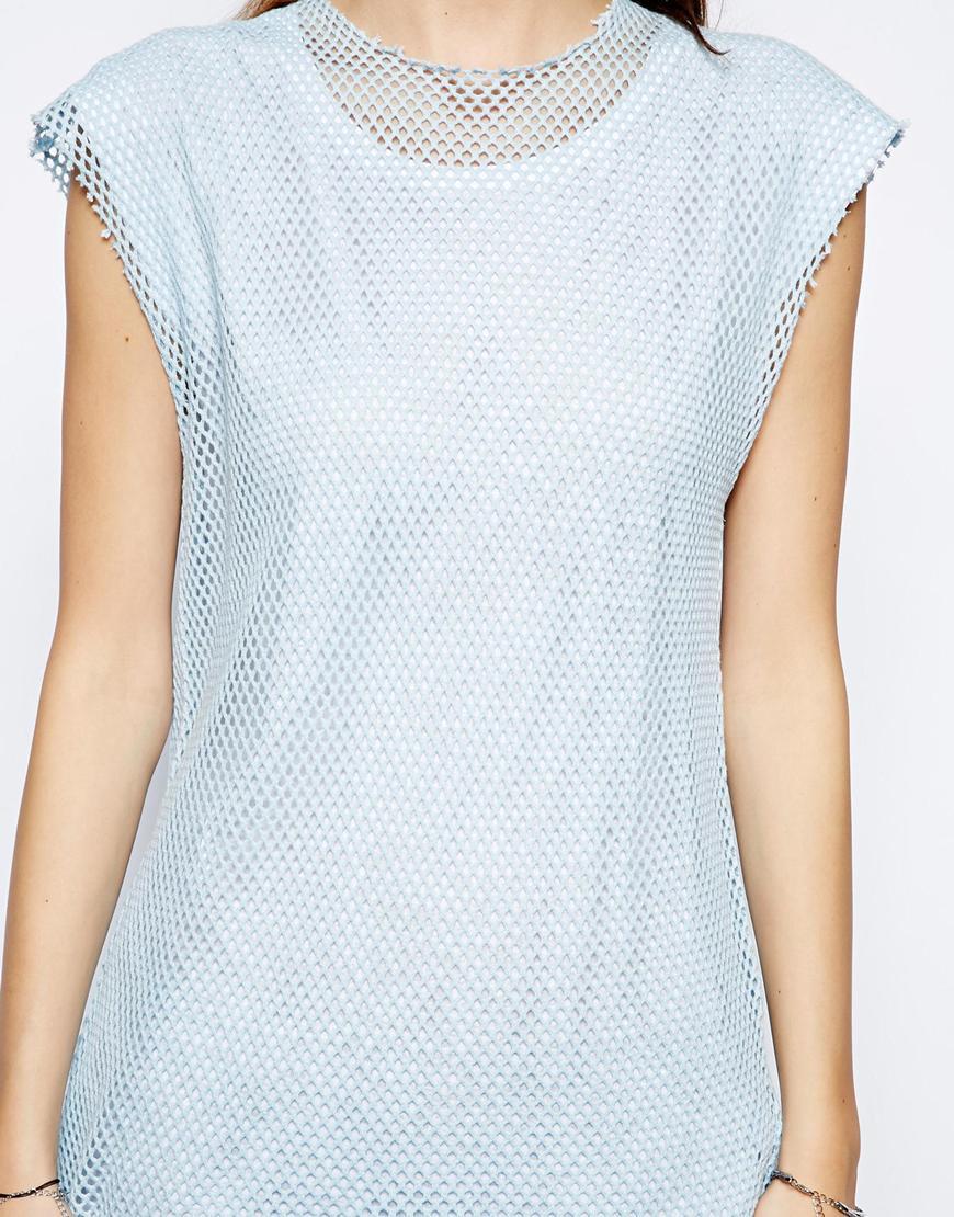 Asos T Shirt With Contrast Zip In Oversized Mesh In Pink