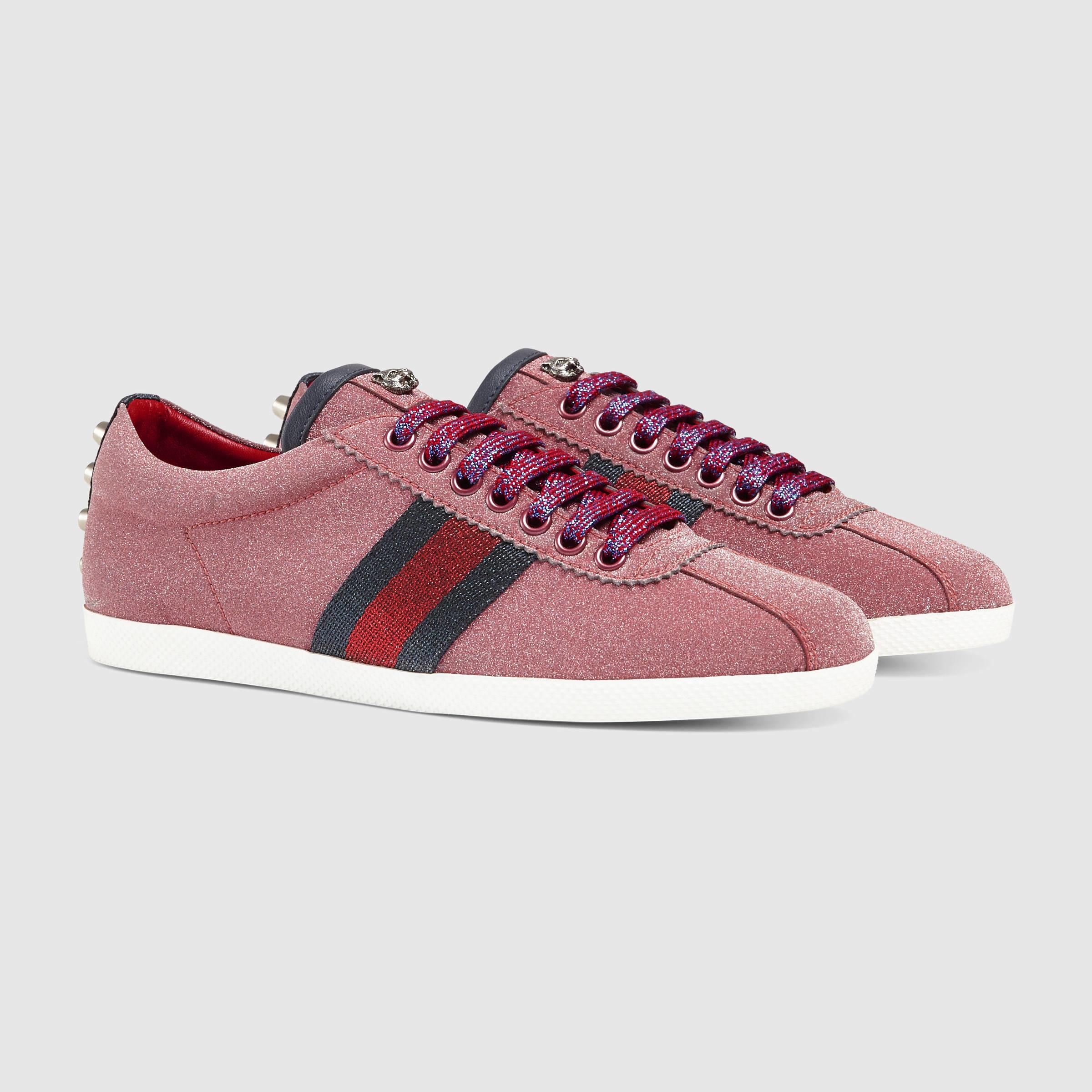 fad97d1b2f5d Gucci Glitter Web Sneaker in Red - Lyst