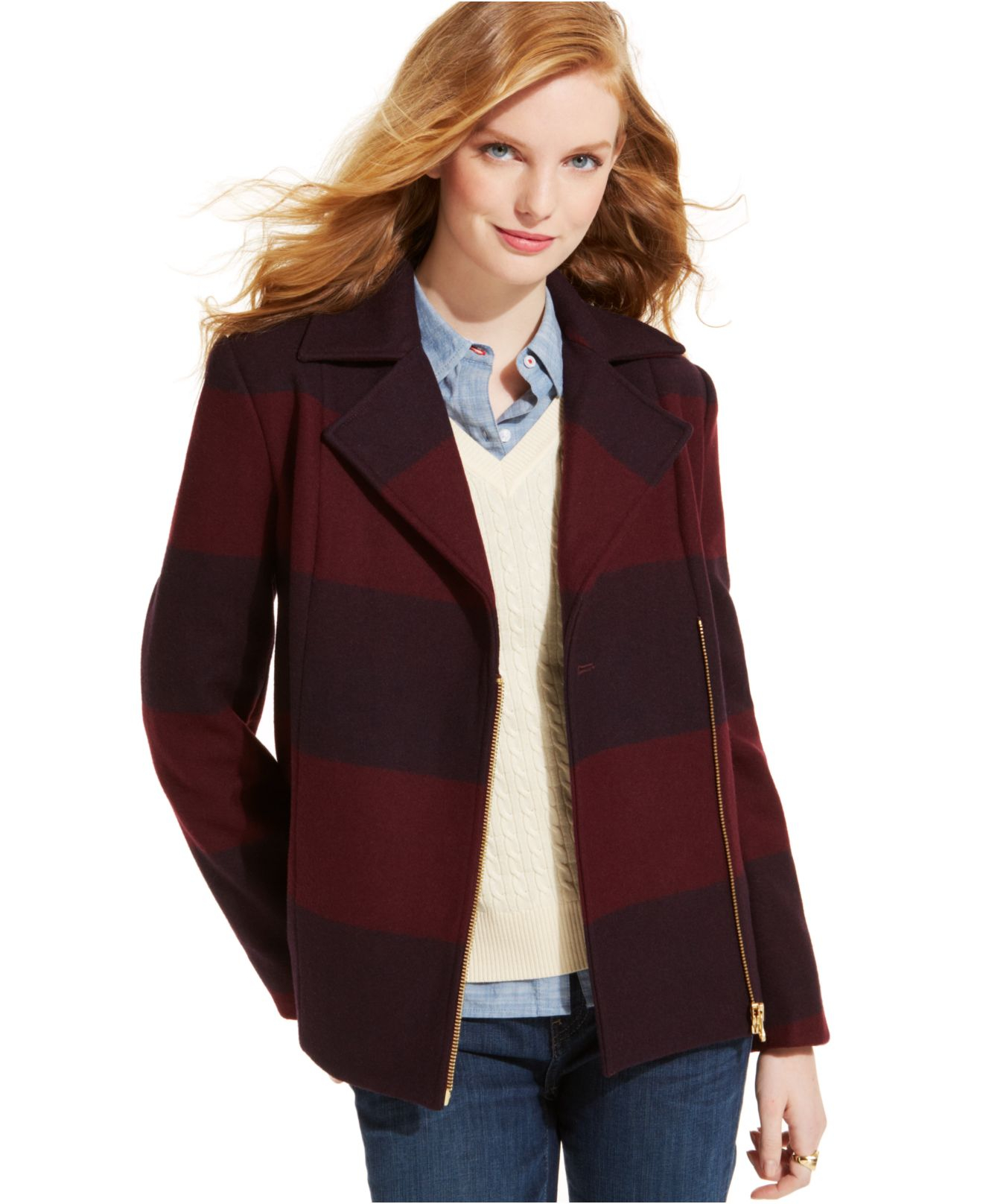 Tommy hilfiger Rugby-Striped Wool Moto Pea Coat in Red | Lyst