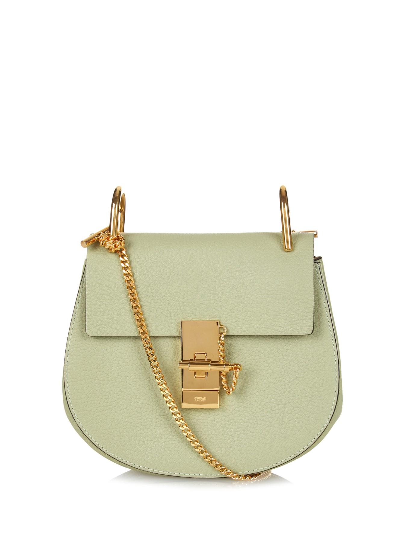 fake chloe bag - Chlo�� Drew Mini Leather Cross-Body Bag in Green (LIGHT GREEN) | Lyst