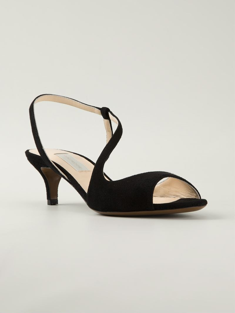 L'autre chose Kitten Heel Sandals in Black | Lyst