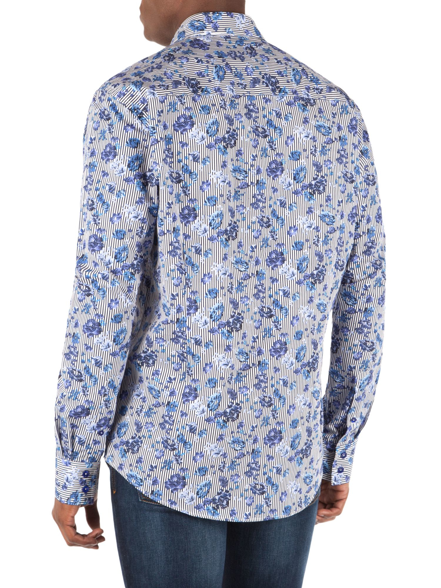 Lyst English Laundry Rose Print Sport Shirt In Blue For Men