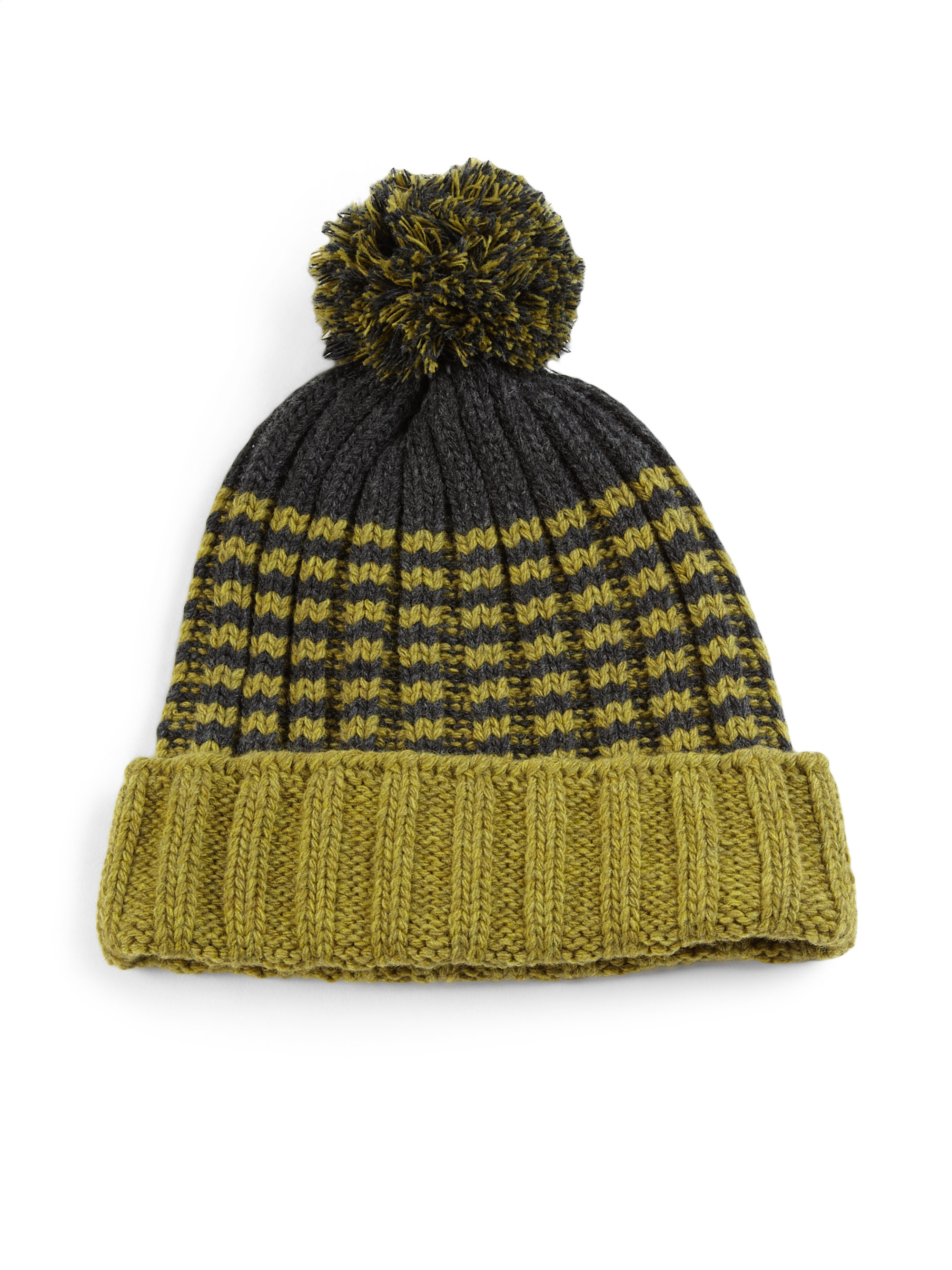 Lyst Gucci Knit Wool Pom Pom Hat In Green