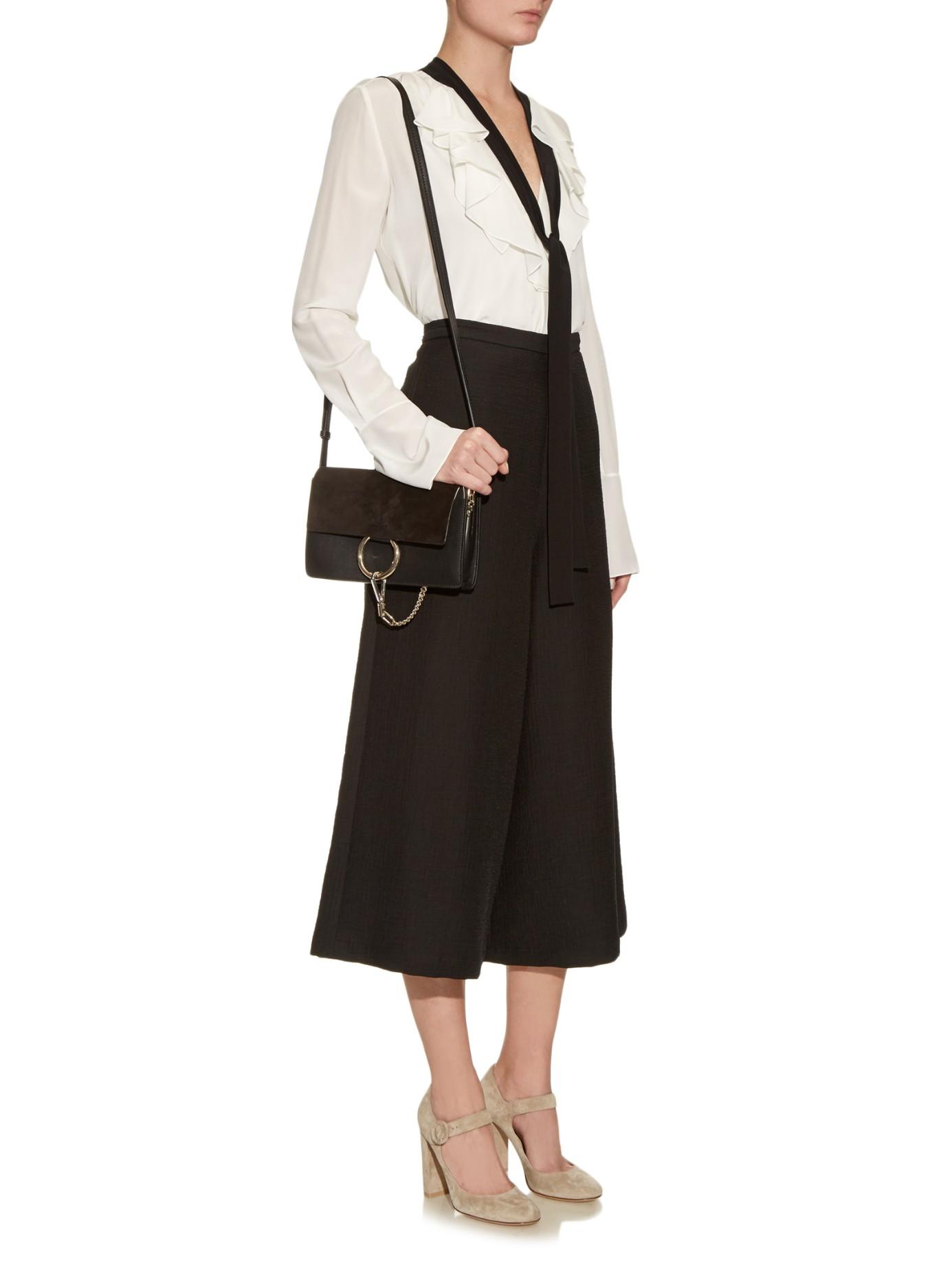 Lyst - Chloé Faye Small Leather And Suede Cross-body Bag in Black e52d93b49da3c