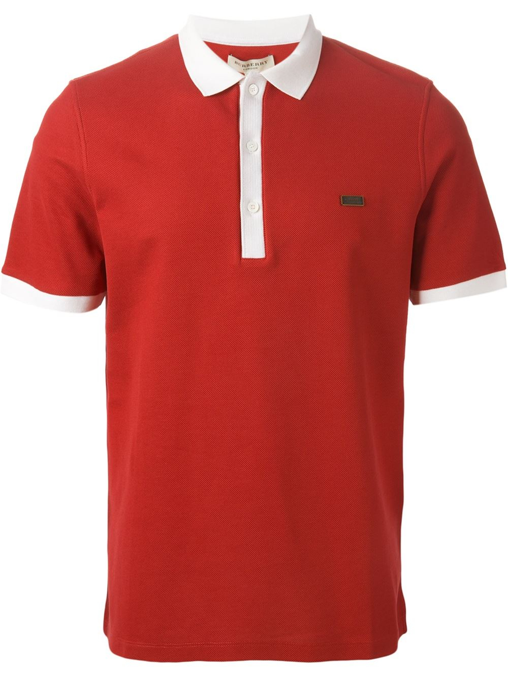 Burberry London Contrast Trim Polo Shirt In Red For Men Lyst