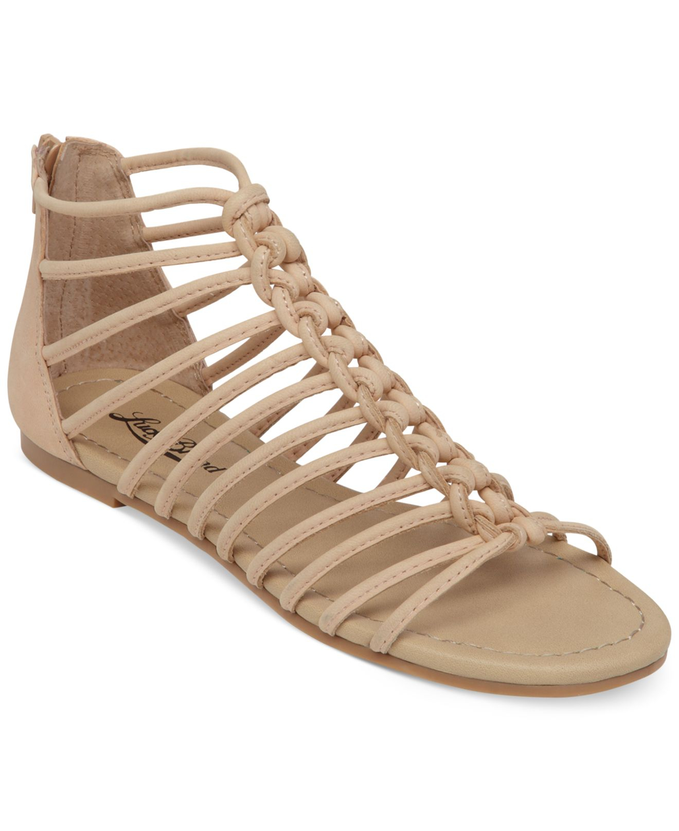 lucky brand casmett strappy caged flat sandals in