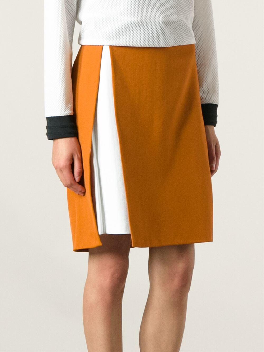 3 1 phillip lim leather panel skirt in orange yellow