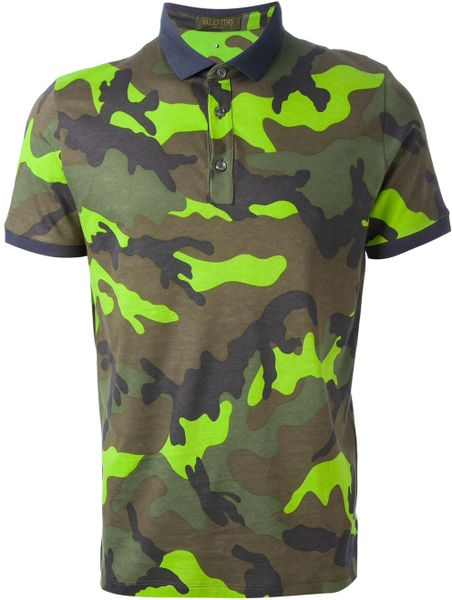 Valentino camouflage print polo shirt in green for men lyst for Camo polo shirts for men