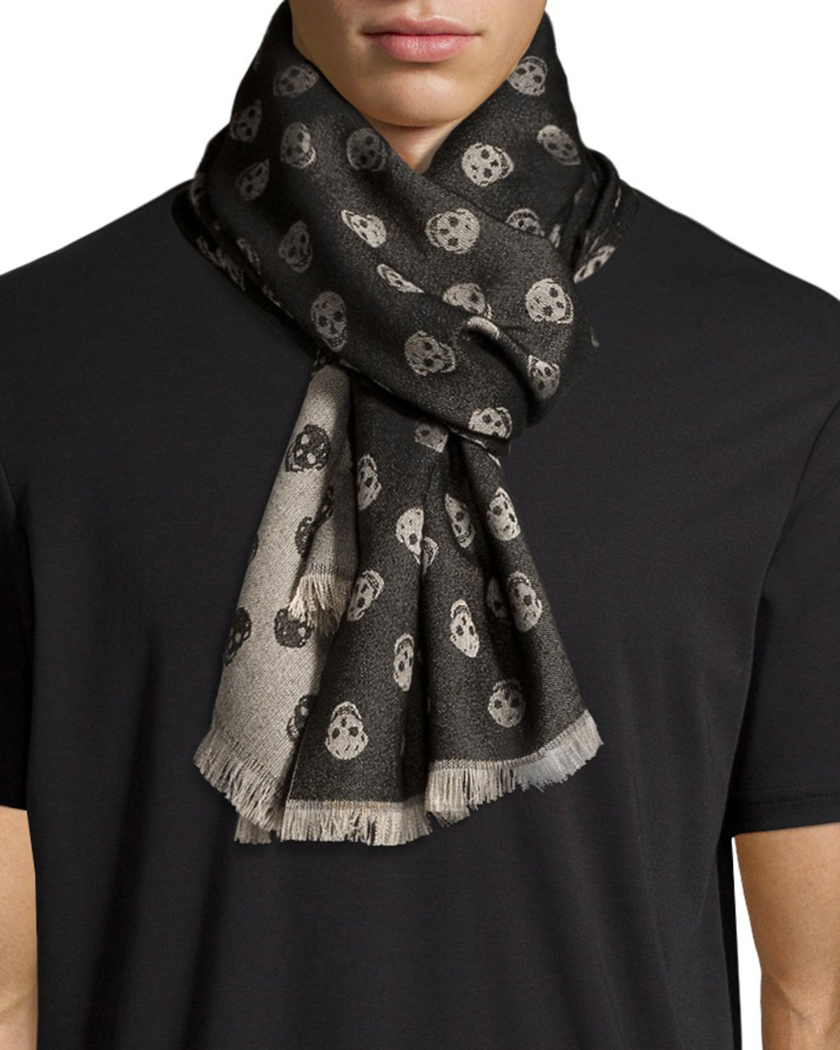 Alexander mcqueen Woven Skull Scarf in Black for Men | Lyst
