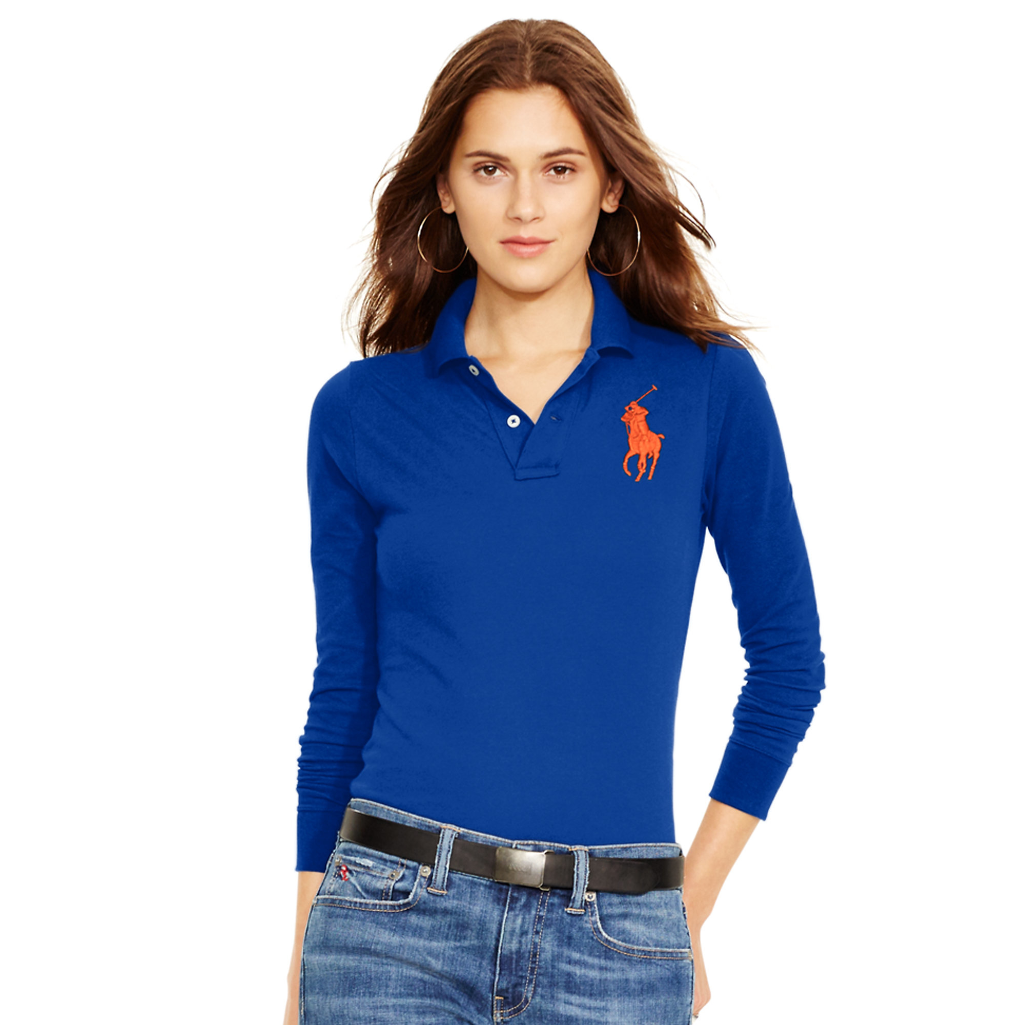 lyst polo ralph lauren skinny fit big pony polo in blue. Black Bedroom Furniture Sets. Home Design Ideas