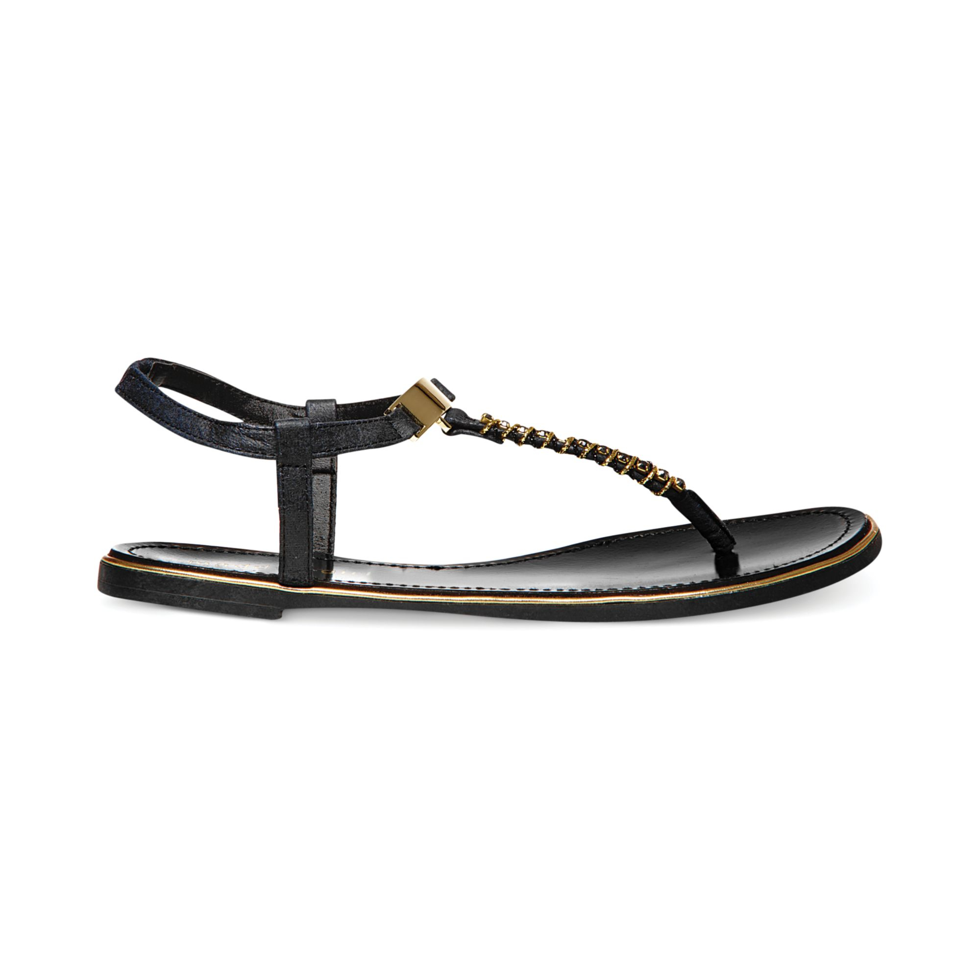 19bad28fe5ca Lyst - Madden Girl Mellowed Jeweled Thong Sandals in Black