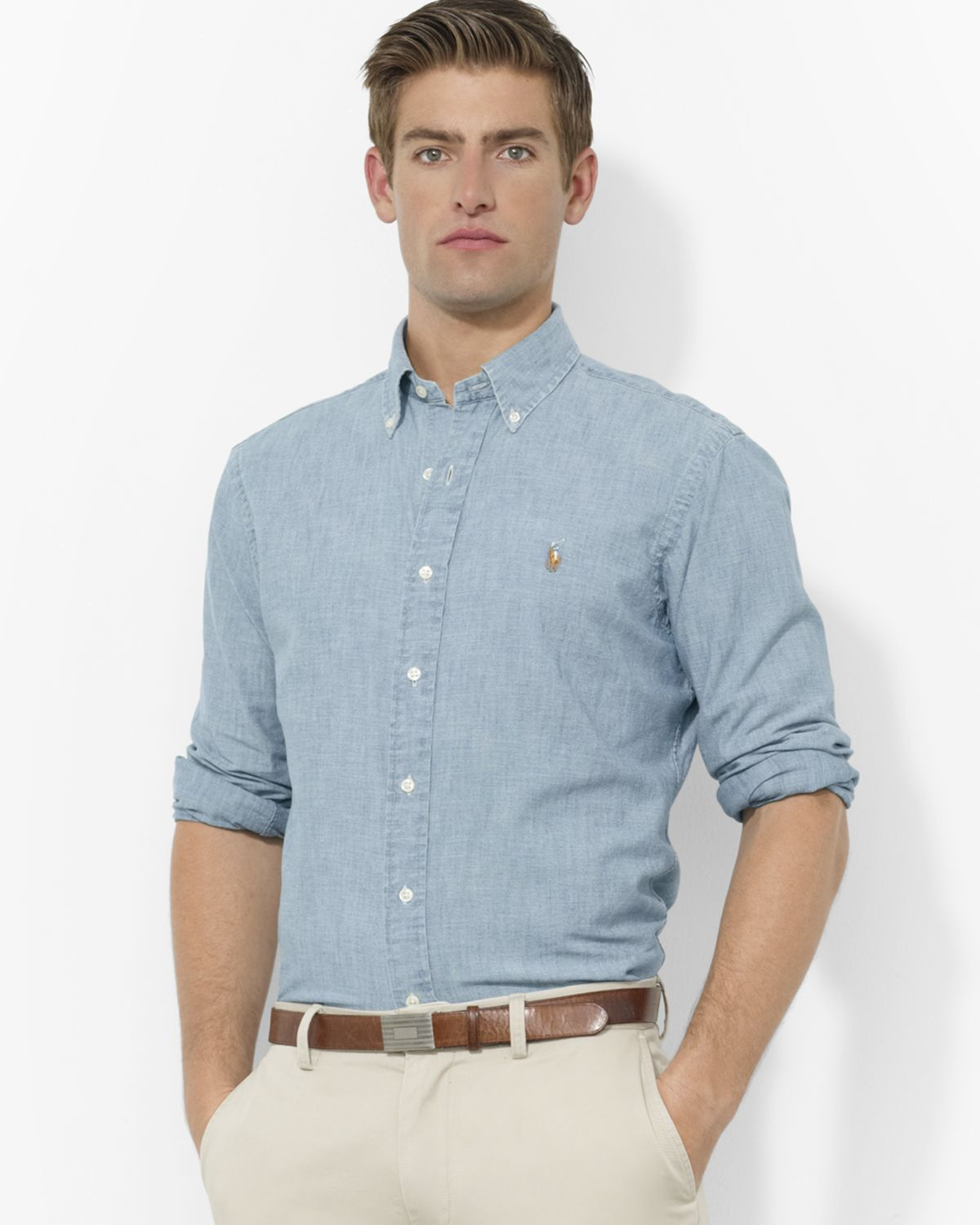 Gallery. Previously sold at: Bloomingdale\u0026#39;s \u0026middot; Men\u0026#39;s Ralph Lauren Classic Men\u0026#39;s Chambray Shirts