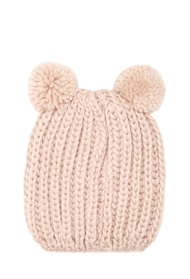Lyst - Forever 21 Pom Pom Ears Knit Beanie in Pink 900b75f1b6a