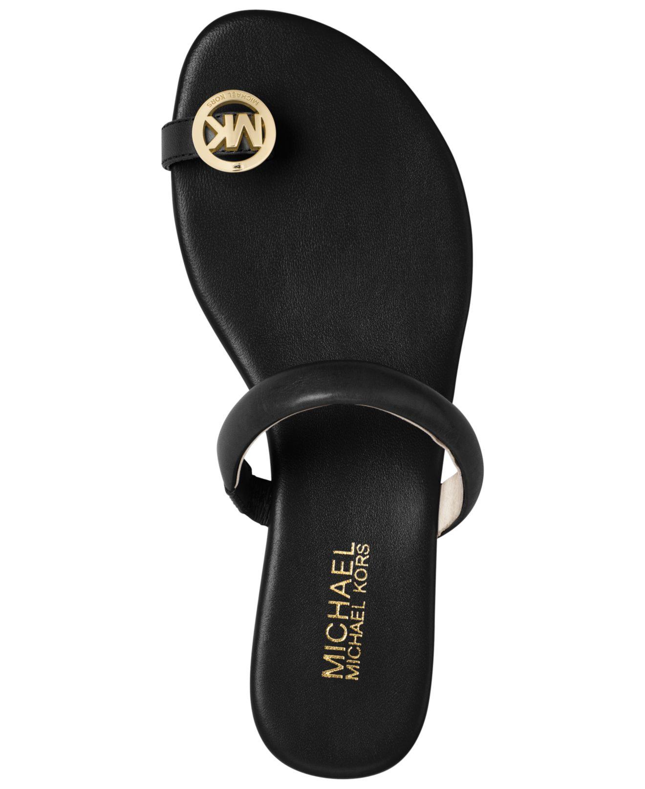 20db5f8a2586 Lyst - Michael Kors Michael Nora Toe Thong Sandals in Black