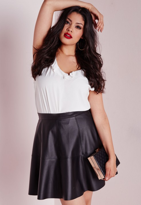 52cda8494c0 Lyst - Missguided Plus Size Faux Leather Skater Skirt Black in Black