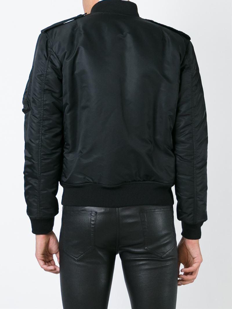 cb89872da41 Saint Laurent Classic Bomber Jacket in Black for Men - Lyst