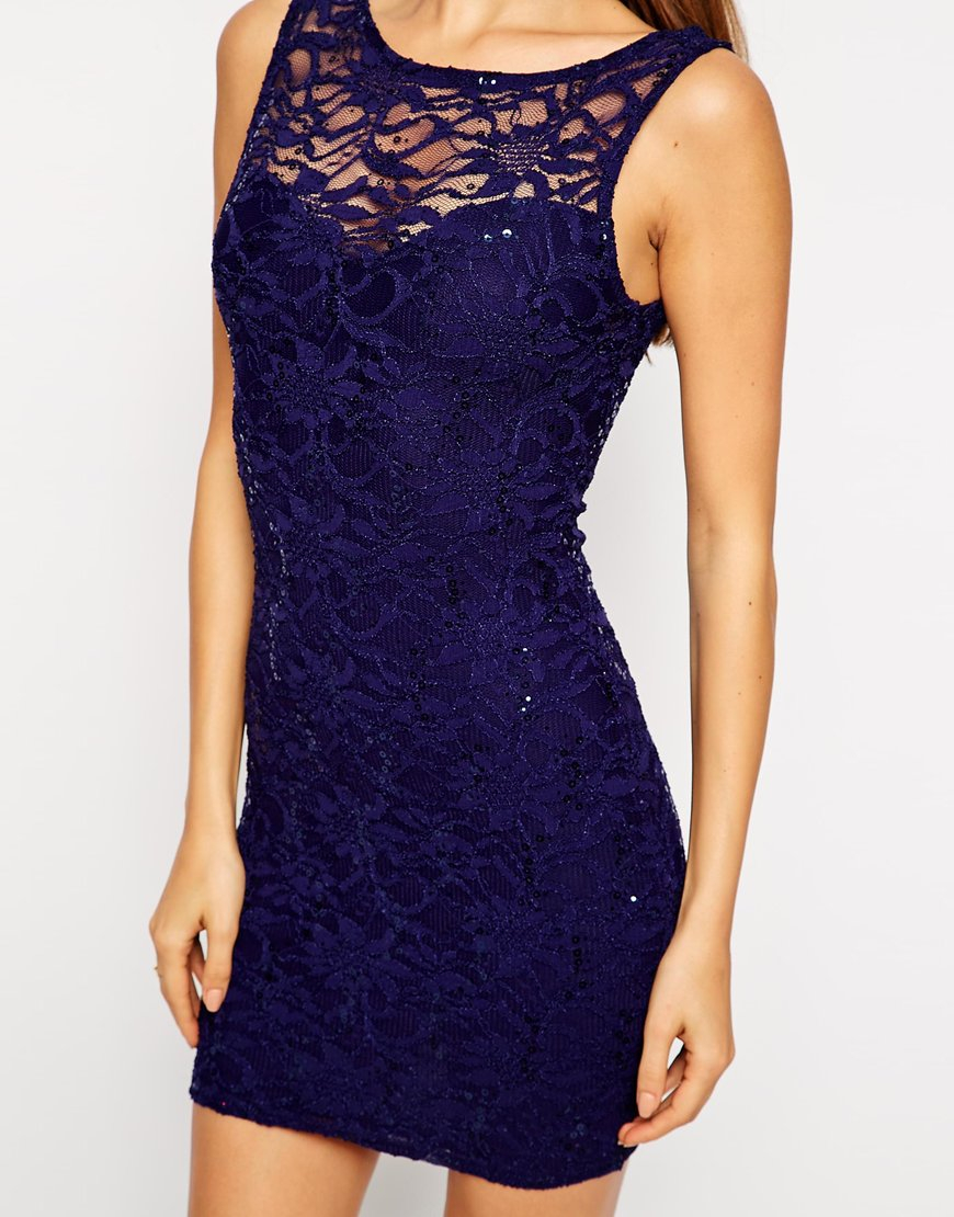 6d656de7 Lipsy Lace Shift Dress with Sequins in Blue - Lyst