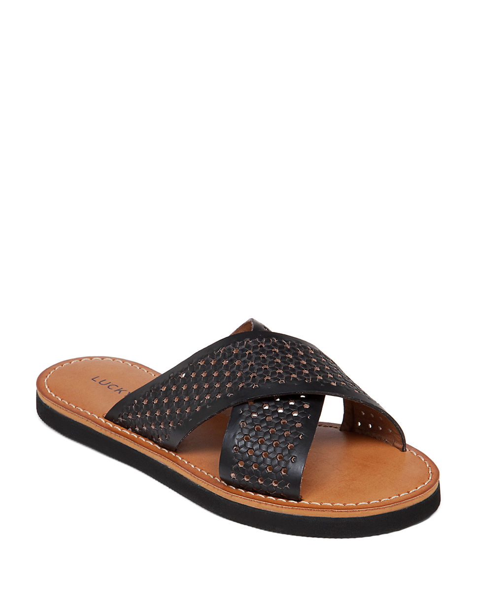 Lucky Brand Dadeen Leather Sandals In Black   Lyst