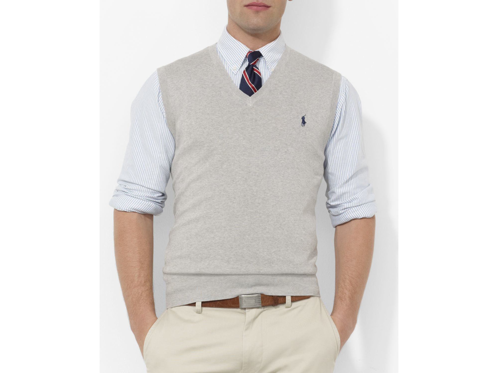 Pink pony Polo Pima Cotton Sweater Vest in Gray for Men | Lyst