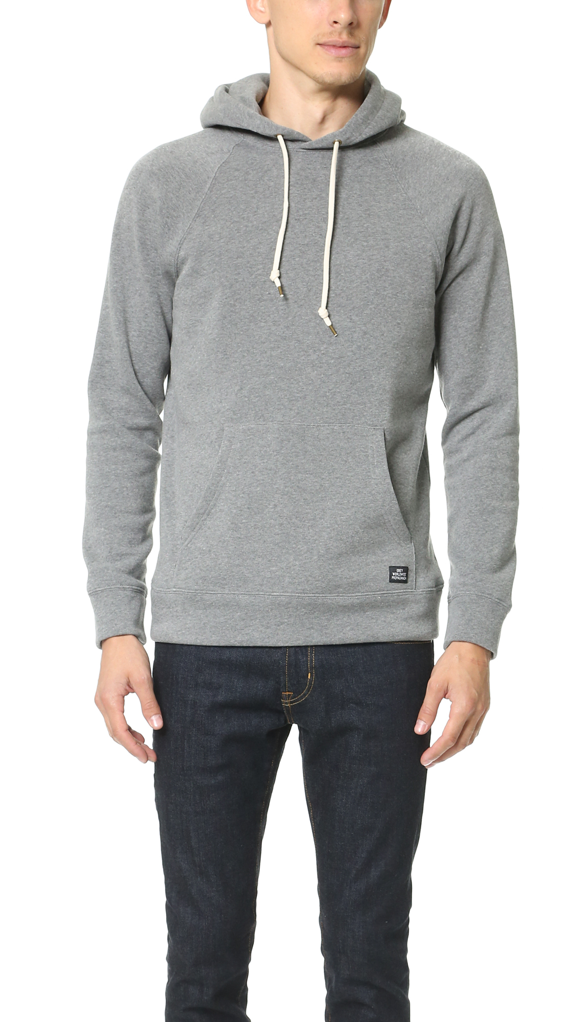 obey lofty creature comforts pullover hoodie in gray for men heather grey. Black Bedroom Furniture Sets. Home Design Ideas
