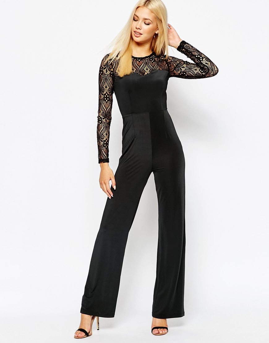 Missguided Wide Leg Lace Jumpsuit in Black - Lyst