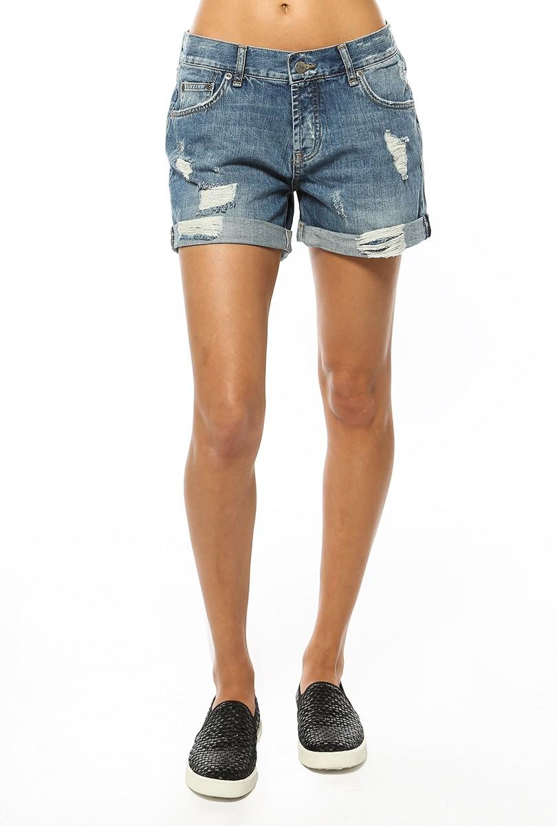 Anine bing Boyfriend Shorts in Blue (Denim) | Lyst