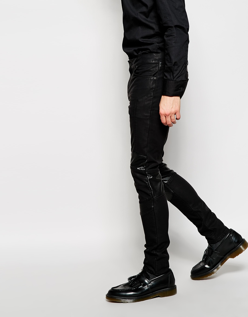BALMAIN PARIS MENS BLACK SLIM FIT BIKER JEANS FAUX LEATHER SIZE 30/32 FK. Condition is New with tags. Shipped with USPS Priority Mail.