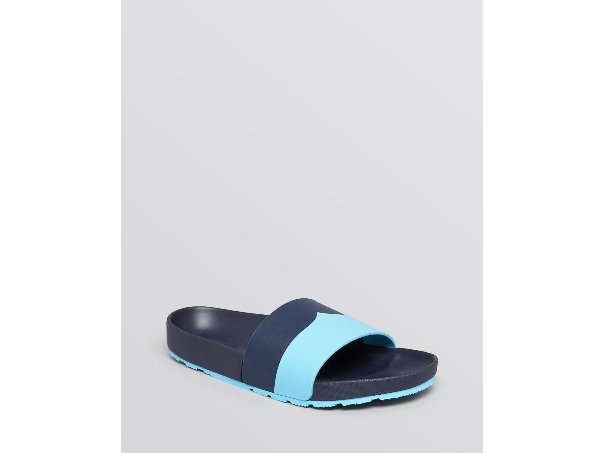 b6ca73764f9c Lyst - Hunter Open Toe Slide Sandals - Moustache Contrast in Blue
