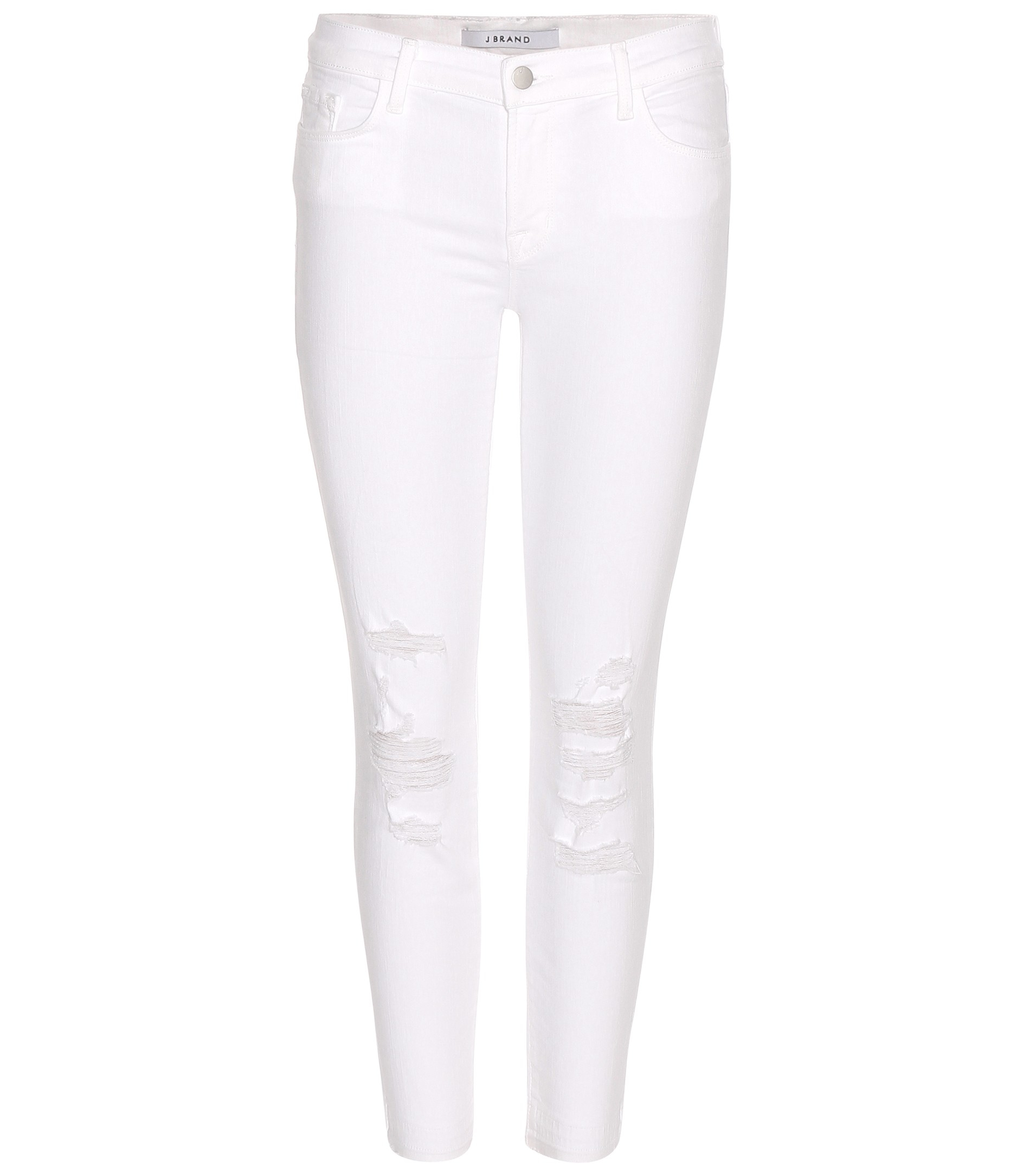 J brand Cropped Low Rise Distressed Skinny Jeans in White | Lyst