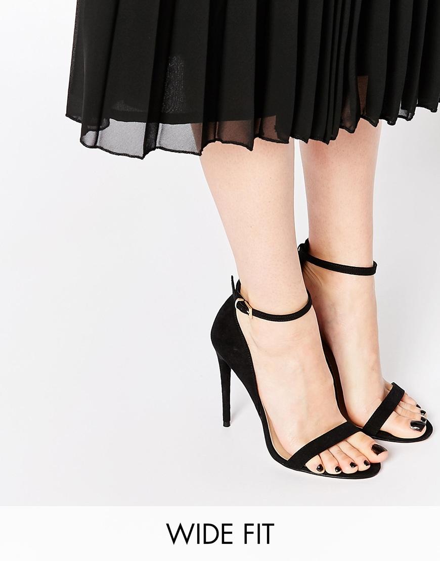 Lyst - Asos Honey Wide Fit Heeled Sandals - Black in Black