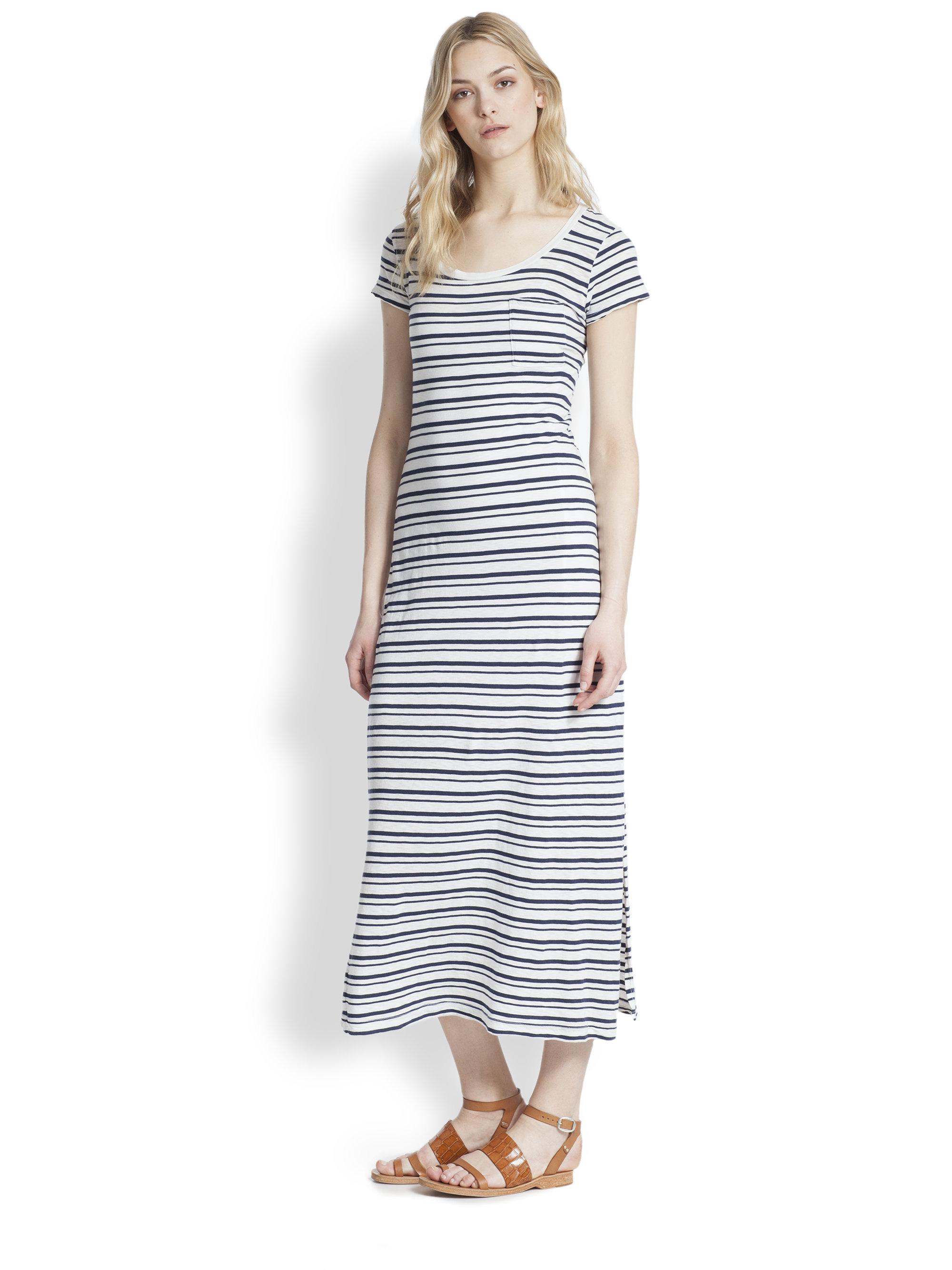 Splendid Striped T-Shirt Maxi Dress in Blue | Lyst