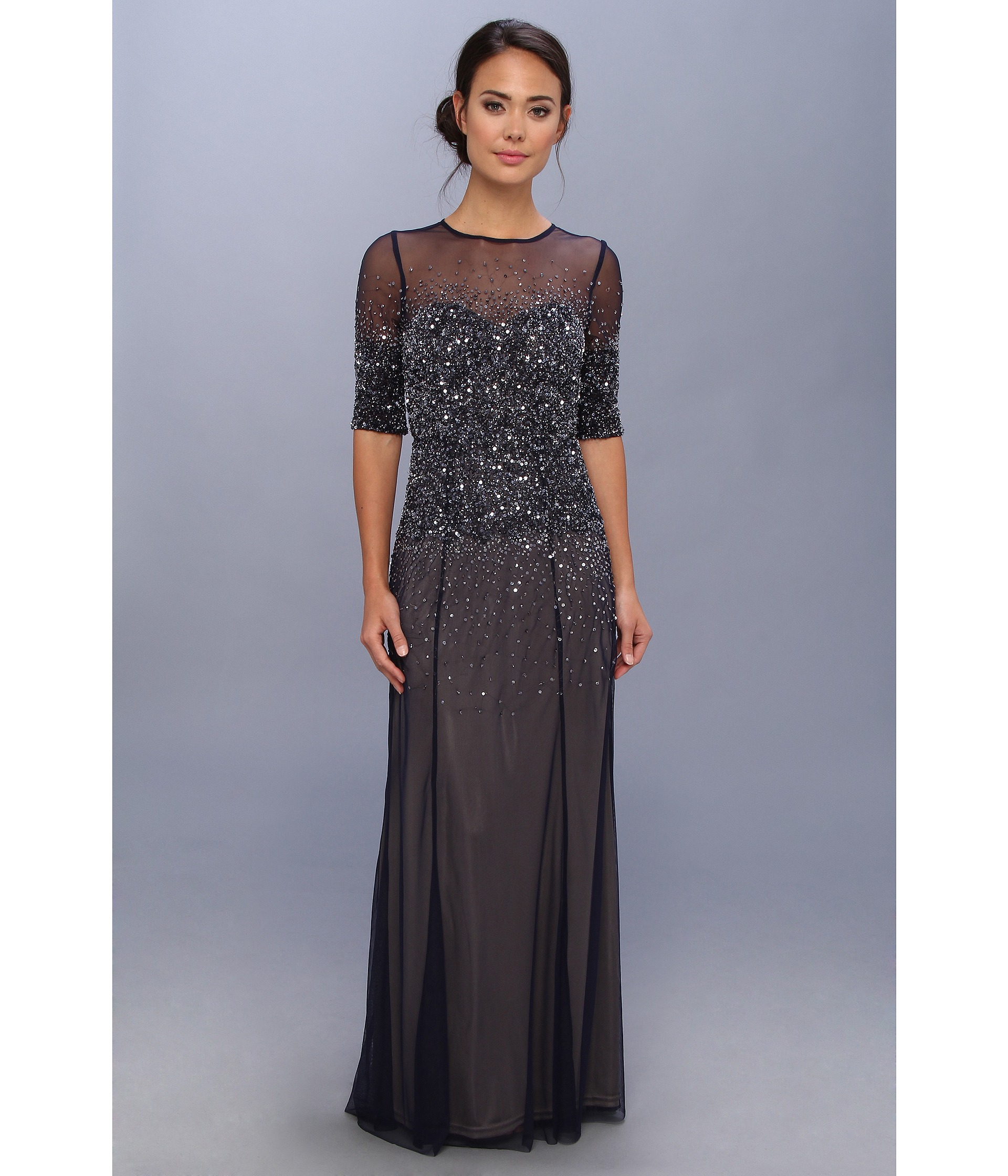 c6db6ab6b5f2 Adrianna Papell 3/4 Sleeve Illusion Yoke Beaded Gown in Blue - Lyst