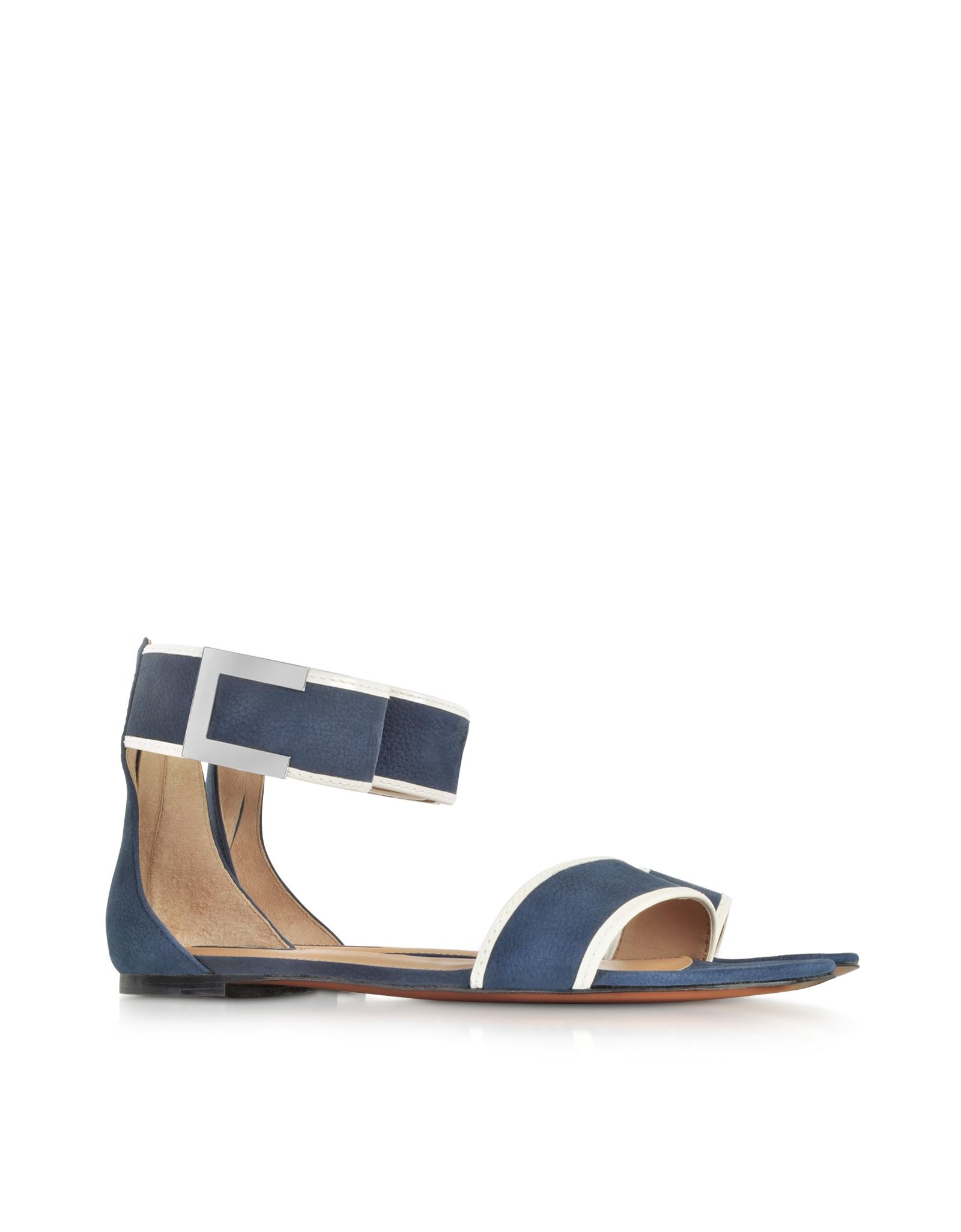 Rachel Zoe Gracie Navy Blue And White Flat Sandal In Blue