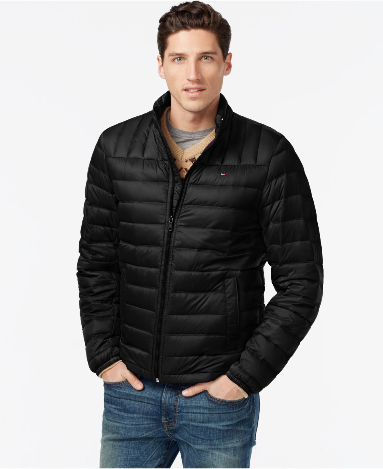 tommy hilfiger winterjacke rot tommy hilfiger faux fur trim hooded puffer coat in blue lyst. Black Bedroom Furniture Sets. Home Design Ideas