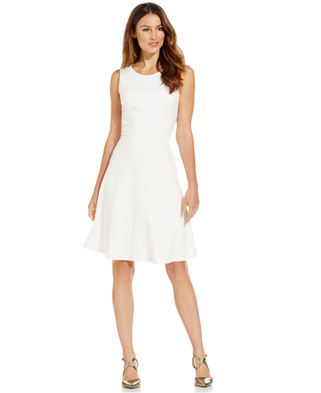 Long White Fit and Flare Dress