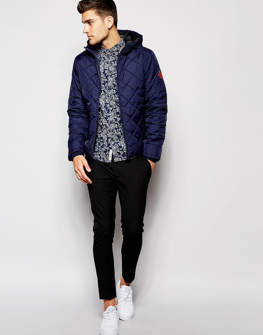 Lyst Blend Quilted Hooded Jacket In Blue For Men