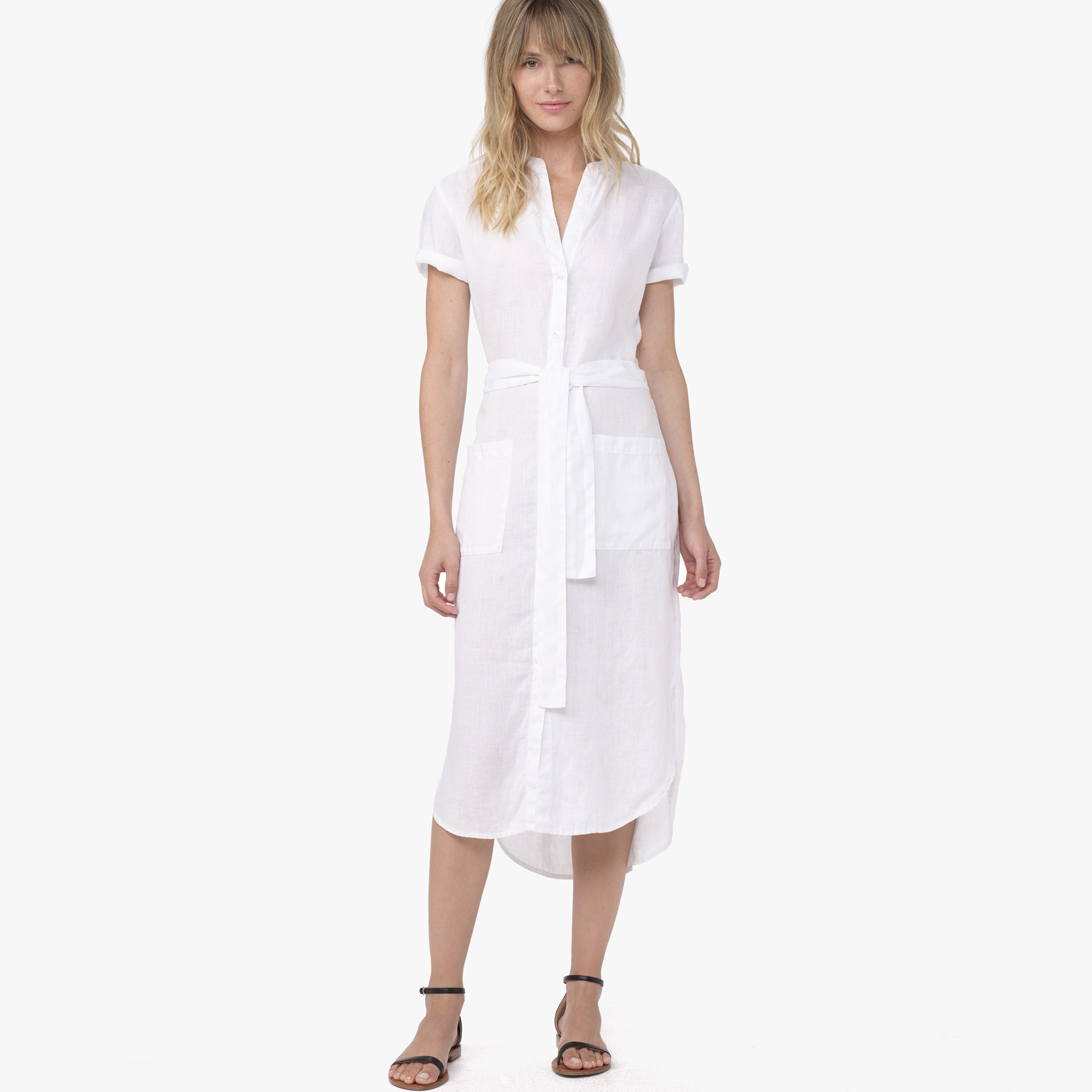 james perse linen shirt dress in white lyst
