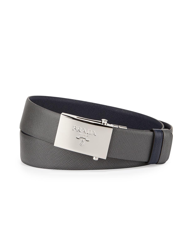 Prada Reversible Leather Plaque Belt In Blue For Men