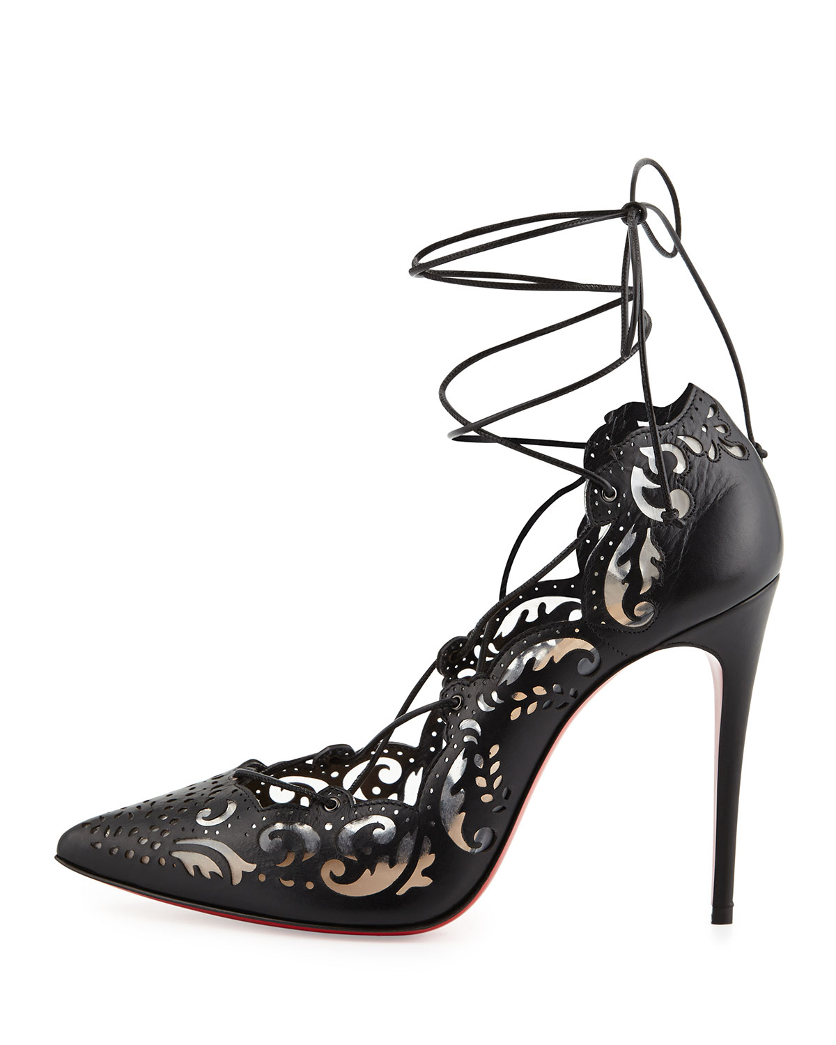 2d461942169f greece shoes pigalle christian louboutin abace 5cf8b  clearance lyst  christian louboutin impera laceup lasercut red sole pump 271c4 31bad