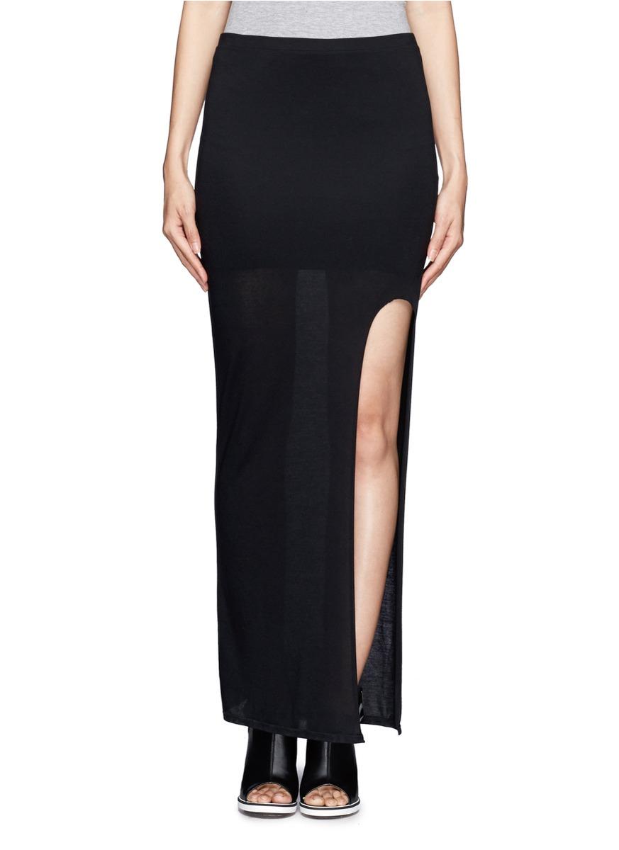 helmut lang front slit maxi skirt in black lyst